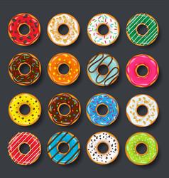 donut begel with cream cookiescookie cake set vector image vector image