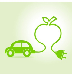 Eco car make a apple icon vector image vector image