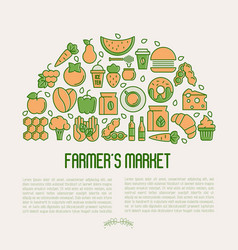 farmers market concept in circle vector image