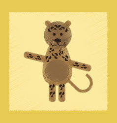 Flat shading style icon cartoon leopard vector