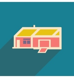 Flat with shadow icon and mobile applacation house vector