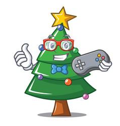 Gamer christmas tree character cartoon vector