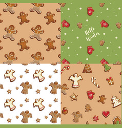 gingerbread cookies seamless pattern set vector image