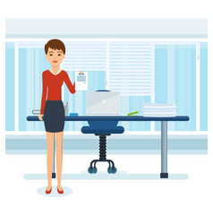 Girl in strict clothes with documents in office vector