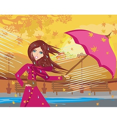 girl with umbrella on a rainy autumn day vector image