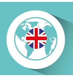 Great britain flag pin map design icon vector