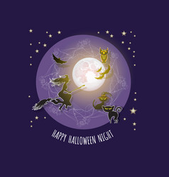 halloween card with moon witch owl bat ca vector image