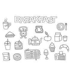 hand drawn breakfast set vector image vector image