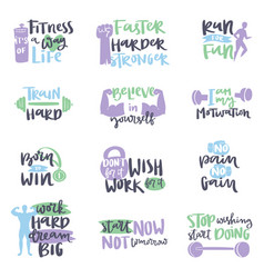 hand drawn fitness motivational sport gym vector image