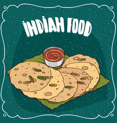 indian flatbread with sauce like chutney vector image