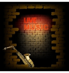live music neon light in the doorway of brick wall vector image vector image
