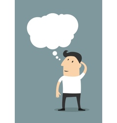 Male cartoon character with a blank thought bubble vector image vector image