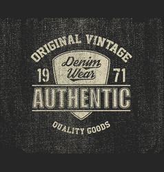 original vintage denim print for t-shirt vector image