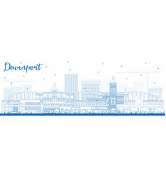 Outline davenport iowa skyline with blue buildings vector