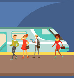 Passengers boarding a train at the platform part vector