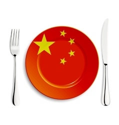 Plate with flag of china vector