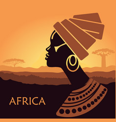 profile of african women in a landscape vector image vector image