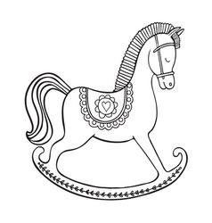 Rocking horse on white background vector image