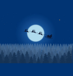 santa flying through the night sky under the vector image