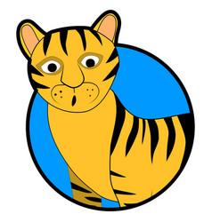 striped wild tiger sticker icon cartoon vector image