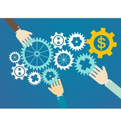 teamwork concept - hands and gears vector image vector image