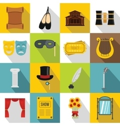 Theater icons set flat style vector