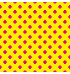 Tile pattern pink polka dots on yellow background vector image