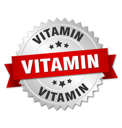 vitamin round isolated silver badge vector image vector image