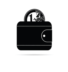 wallet icon with black euro coin vector image vector image