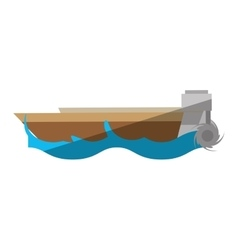 Cartoon boat wave sea travel beach vector