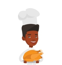 Chief cooker holding roasted chicken vector
