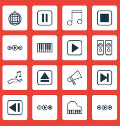 Set of 16 audio icons includes note skip song vector