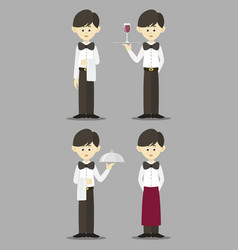 Isolated professional waiter set vector