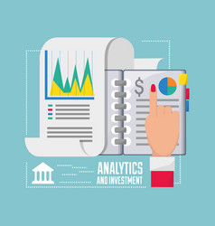 Businesswoman checking the statistic and finances vector