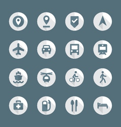 Flat style various map navigation icons set vector