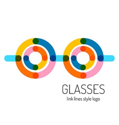 Glasses logo template round and straight vector