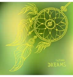 Boho style dreamcatcher on blurred background vector
