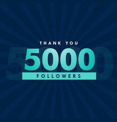 5000 social media followers template design vector