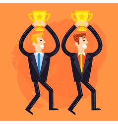 Businessmen who win the cups vector