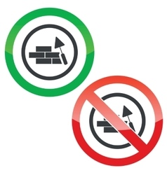 Build wall permission signs vector
