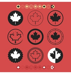 Canadian silhouette and line maple leaf icons set vector