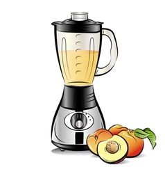 Drawing color kitchen blender with peach juice vector