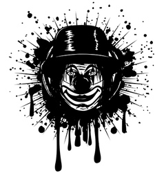 Clown in hat on grunge splash vector