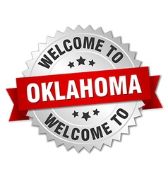 Oklahoma 3d silver badge with red ribbon vector
