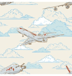 Airplanes on cloudy backgorund card vector