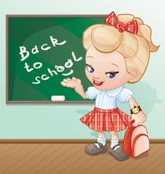 back to school girl cartoon vector image