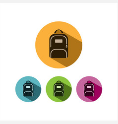 backpack icon with shadow on colored circles vector image vector image
