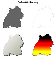 Baden-wurttenberg outline map set vector