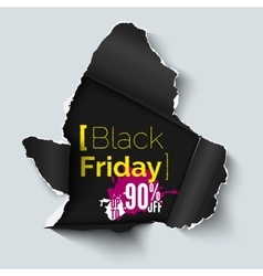 Black Friday sale background Hole in paper vector image