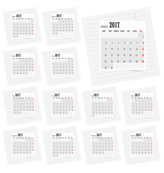 Calendar 2017 set business in colorful vector